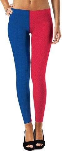 Blue And Red Halved Leggings $49.00