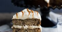 Banana Chocolate Chunk Cake with Cream Cheese Dulce de Leche Frosting from