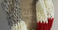 Knit sock monkey color scarf. gray soft white and red by BeadGs