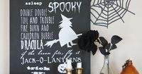 DIY Halloween Chalkboard Sign made with Cricut Explore -- Girl.Inspired. #DesignSpaceStar Round 4