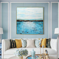 Framed painting Modern abstract Acrylic paintings on canvas original blue sea painting heavy texture Wall Art pictures cuadros abstracto $140.00