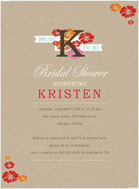 VIGOROUS BLOOM BRIDAL SHOWER INVITATION CARD HPB156