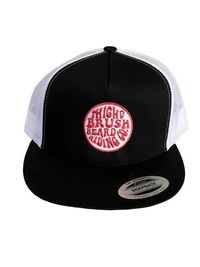 THIGHBRUSH® BEARD RIDING COMPANY - Trucker Snapback Hat - Black and White - Flat Bill - Pink Logo