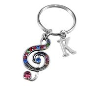 Personalised Treble Clef Musical Note Keyring Keychain Silver Tone Bag Purse Charm Key Ring Key Chain