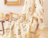 Granny popcorn Blanket pattern PDF Instant Download Afghan knitted blanket knitting supplies