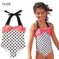Girls Swimwear Mermaid Princess One Pieces Swimsuit Kids Dots Swimming Suit For Girl Children Bathing Suit $3.32