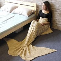 Creative Knitted Mermaid Tail Blanket Handmade Crochet Mermaid Striped Blanket Fashion Acrylic Material Soft Sofa Blanket $48.79