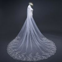 Fashion Lace Appliques White Ivory Cathedral Wedding Veils $57.99