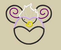 Villian Design - Little Mermaid Mouse Head Sea Witch Ursula Applique Embroidery Design - 5x7 and 6x10 on Etsy, $3.75