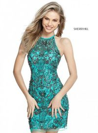 Blue Sherri Hill 51282 Short Halter High Beaded Homecoming Dress
