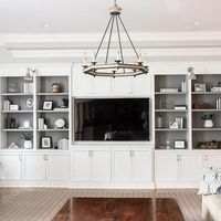 Living Room with White Built-in Shelving and Grey Backs | Park and Oak Interior Design