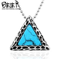 BEIER 316L Stainless Steel Fashion Unisex Pendant Necklace Triangle Style With Green Stone jewelry $8.38