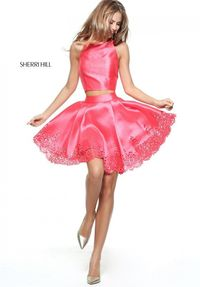 PINK S50889 TWO-PIECE SHORT CUT OUTS HOMECOMIN