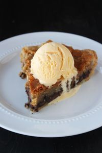 Chocolate Chip Cookie Pie is warm, gooey, and best served with ice cream!