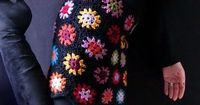 crochet granny square skirt,
