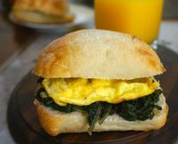 Swiss Chard and Egg Ciabatta Sandwich
