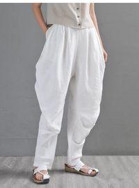 Beige harem pants, Women's yoga pants, High waist linen pants, linen pants, Comfy pants, Burning man pants