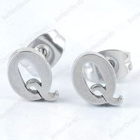 1 Pair 22G/0.6mm Stainless Steel Letter Q Ear Stud Men's Earring Unisex Fashion