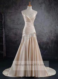 Beaded Champagne Pleated Mermaid Prom Dresses
