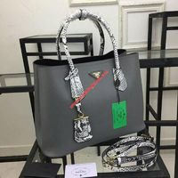 Prada 1BG756 Python Handles Double Bag In Grey