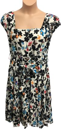 BNWT Ladies Lady Vintage Navy White Floral Midi A-Line Dress 20 L 42 In JS323 $9.84
