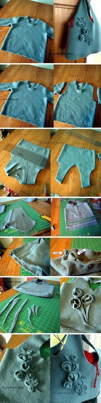 very smart use for an old sweater which I am sure you can find at nearly any thrift shop... so perfect for felting.