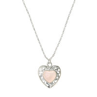 Rose and Filigree Heart Pendant Necklace
