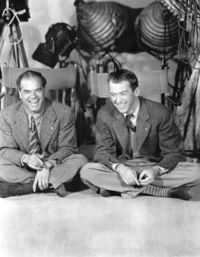 Frank Capra (Director) and Jimmy Stewart on the set of �€œIt's a Wonderful Life�€