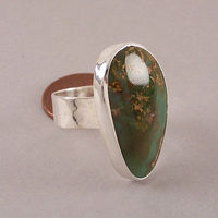 Size 7 1/2 US Natural Paradise Turquoise Gemstone and Sterling Silver Statement Ring $59.00