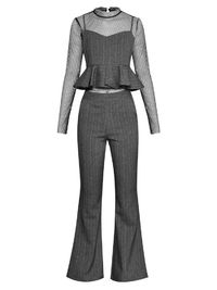 Perspective mesh bottoming shirt & suspenders top & trousers $112.00