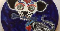 Dia de Los Muertos Talavera Plate Day of The Dead Cat Dog Catrina Sugar Skull | eBay