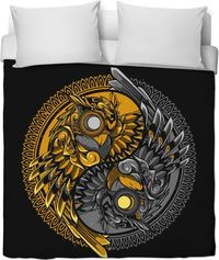 ROB Steampunk Owls Yin And Yang Duvet Cover $120.00