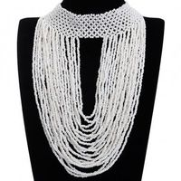 Fashion Jewelry Full White Color Resion Collar Charm Cluster Pendant Statement Necklace New