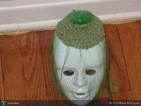 crochet green veil hat
