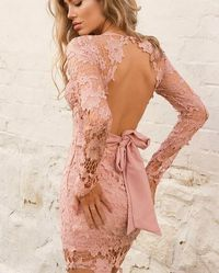 Backless Pink Hollow Out Long Sleeve Club Mini Dress