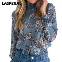 LASPERAL Chiffon Shirt Women Long Sleeve Blouse Top Fashion Vintage Floral Print Blouse Shirt chemise blusa feminina Top 2018 $22.85