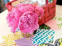 print paper, pink peonies and stationery.