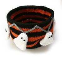 """This Boo!tiful Candy Bowl is great to 'hide"""" treats in. Crochet it today in Vanna's Choice."""