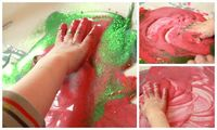 After seeing the sand piping bags at Irresistible Ideas for Play Based Learning, I knew it was a sensory activity that Henry would love to get messy doing. Minu