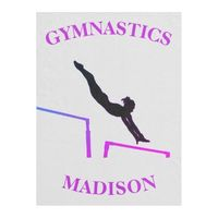 Gymnastics Uneven Bars Custom Girls Fleece Blanket for Gymnast! Has a stunning silhouette of a girl gymnast in motion on uneven bars. This blanket is perfect for your gymnastics loving super star! Best of all it can be personalized with the name of your g...