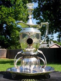 Repurposed Silverplate Pitcher Birdhouse with Modified Forks & Spoons - JUNKMARKET Style