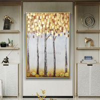 Gold Leaf tree painting Modern abstract acrylic paintings on canvas original extra large Wall Art home decor wall Pictures framed painting $139.00