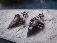 Earrings from Natural Stone- Obsidian and labrodorite, Witchcraft Jewelry, Shamanic Jewelry, dark style, black arrowhead $60.00