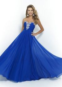 2015 Long Royal Strapless Chiffon Beaded Blush 9984 Prom Dress