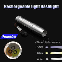 5W 3 LEDs XPG R5 365nm Ultraviolet Beeswax Amber Detector UV LED Flashlight