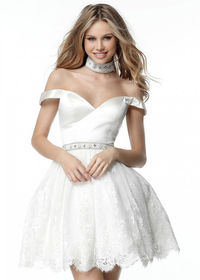2017 Lovely Lace Princess Off The Shoulder Ivory Flared Homecoming Dress