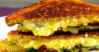 Our greek style grilled cheese sandwich has tangy feta cheese, creamy muenster cheese, fresh spinach and earthy sun dried tomatoes, with a super crunchy bread.