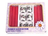 Vintage Funny Leuchter Porcelain Red & White Floral Candle Set | Made in West Germany | New Old Stock (NOS) $24.99