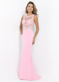 High Illusion Appliques Bodice Carnation Pink Keyhole Back Prom Dress   Blush 9939 Carnation Pink Prom Dress Fabric: Jersey. Colors: Aquamarine, Carnation Pink. Definitely a head turning dress with a high bateau neckline adorned with beaded lace appl...