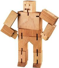 Cubeot Wooden Robot, good to fidget with during sessions.